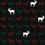 鹿圣诞节假日传染媒介无缝的样式 免版税库存图片