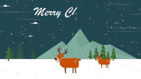 鹿圣诞节的动画圣诞快乐的 免版税库存照片
