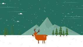 鹿圣诞节的动画圣诞快乐的 库存照片