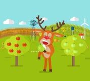 鹿在庭院吃苹果计算机 逗人喜爱的驯鹿快餐 库存图片