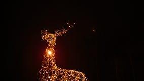 鹿明亮的圣诞节照明家庭  图库摄影