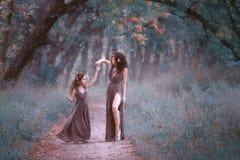 鹿服装的华美的妇女转动她的森林足迹的,佩带的长的棕色礼服女儿,显示她 免版税库存图片