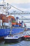 鹿特丹被停泊的集装箱船港  免版税库存图片
