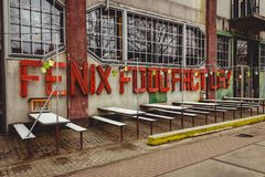 鹿特丹,南荷兰省/荷兰- 2018年3月17日:费尼克斯食物工厂的前面门面 免版税库存图片