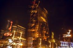 鹿特丹,荷兰- 2015年12月26日:在夜间的著名城市视域2015年12月26日在鹿特丹-荷兰 免版税库存图片