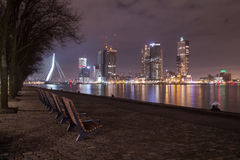 鹿特丹nightshot 图库摄影
