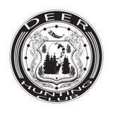 鹿狩猎俱乐部徽章在平的样式的传染媒介例证 图库摄影