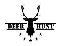 鹿狩猎 在葡萄酒样式的狩猎俱乐部商标 免版税库存照片