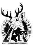 鹿猎人商标 免版税库存图片