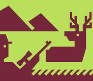 鹿猎人步枪偷偷靠近通配 免版税库存照片
