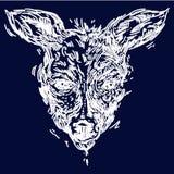 鹿的手拉的现实剪影,隔绝在白色背景 皇族释放例证