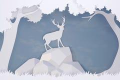 鹿纸被削减的艺术和工艺样式在有拷贝空间的森林里 图库摄影
