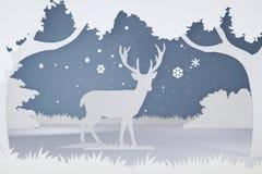 鹿纸被削减的艺术和工艺样式在有拷贝空间的森林里 免版税库存图片
