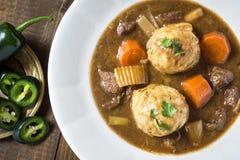 鹿肉猎人炖煮的食物和饺子用烟肉和葱 库存图片