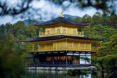 鹿苑寺寺庙,金黄亭子京都日本多数普遍的旅行的目的地一的寺庙  免版税库存照片