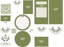 鹿角在蕨邀请的爱图表设置了2 免版税库存照片