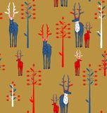 鹿角的鹿和幻想树 图库摄影