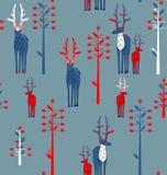 鹿角的鹿和幻想树 免版税库存图片