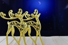 鹿金形象在夜空的 图库摄影