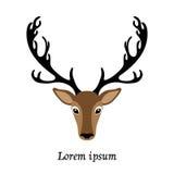 鹿顶头传染媒介例证,被隔绝的麋商标 免版税库存照片