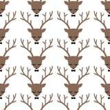 鹿顶头剪影无缝的样式 免版税库存图片