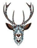 鹿顶头zentangle传统化了,导航,例证,徒手画的笔 免版税库存照片
