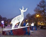 鹿,莫斯科电雕塑  免版税库存图片