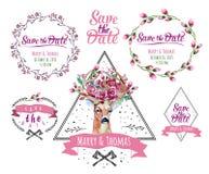 鹿水彩 套与花卉婚礼的框架 库存照片