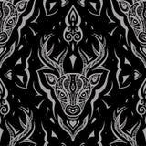 鹿头 无缝的模式 库存图片