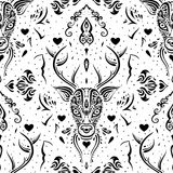 鹿头 无缝的模式 免版税库存图片