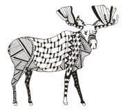 麋zentangle传统化了,导航,例证,徒手画的铅笔 免版税库存照片