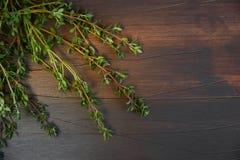 麝香草分支在一个黑暗的木板的 题字的自由地方 免版税库存照片