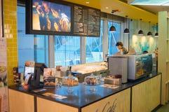 麦克唐纳咖啡馆内部 免版税库存图片