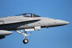 麦克当诺道格拉斯公司F/A-18大黄蜂喷气式歼击机 免版税库存图片