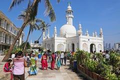 赴麦加朝圣过的伊斯兰教徒阿里清真寺,孟买,印度 库存照片