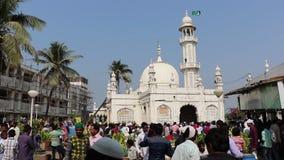 赴麦加朝圣过的伊斯兰教徒阿里Dargah,孟买 股票录像