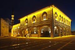赴麦加朝圣过的伊斯兰教徒Bayram清真寺在晚上 咽喉痛 火鸡 图库摄影