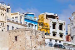 麦地那传统五颜六色的房子  更加气味强烈的摩洛哥 库存照片
