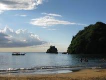 麦地那海滩,在苏克雷状态委内瑞拉的海洋看法 库存照片