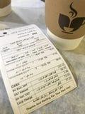 麦地那,沙特阿拉伯- 2018年1月27日:关闭咖啡bil 免版税库存图片