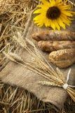 麦子和面包的耳朵 免版税库存图片
