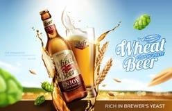 麦子啤酒广告 向量例证