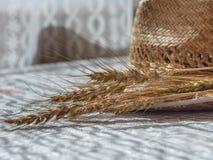 麦子小尖峰和草帽在白色桌上 免版税图库摄影