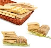 麦子的干燥大面包和耳朵 免版税库存照片