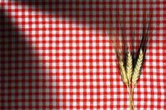 麦子的耳朵在一张方格的桌布的 免版税库存图片