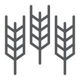 麦子线象,五谷和面筋,面包标志,向量图形,在白色背景的一个线性样式 免版税库存照片
