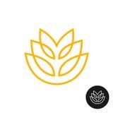 麦子耳朵线性样式商标 免版税图库摄影
