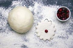 麦子面团、cuttered曲奇饼和一些冷冻蔓越桔一张顶上的照片  在黑暗的背景的被洒的面粉 有选择性的s 库存照片