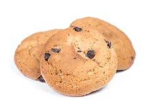 麦甜饼堆与巧克力片的 免版税图库摄影