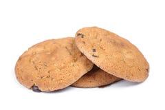 麦甜饼堆与巧克力片的 免版税库存图片